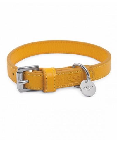 Lederhalsband Sol gelb